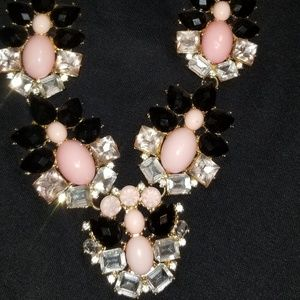 Pink and black statement necklace